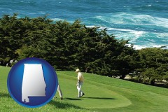 alabama map icon and two golfers on the green at an oceanside golf course