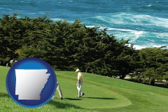 arkansas map icon and two golfers on the green at an oceanside golf course