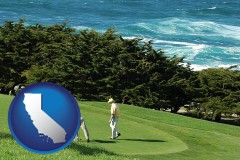 california map icon and two golfers on the green at an oceanside golf course