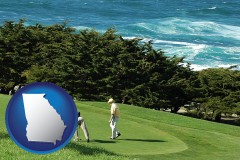 georgia map icon and two golfers on the green at an oceanside golf course