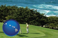 hawaii map icon and two golfers on the green at an oceanside golf course