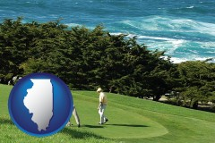illinois map icon and two golfers on the green at an oceanside golf course