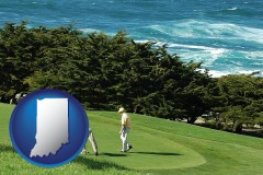 indiana map icon and two golfers on the green at an oceanside golf course