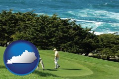 kentucky map icon and two golfers on the green at an oceanside golf course