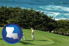 louisiana map icon and two golfers on the green at an oceanside golf course