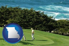 missouri map icon and two golfers on the green at an oceanside golf course