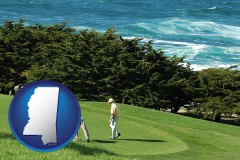 mississippi map icon and two golfers on the green at an oceanside golf course