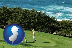 new-jersey map icon and two golfers on the green at an oceanside golf course