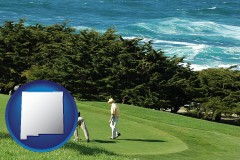 new-mexico map icon and two golfers on the green at an oceanside golf course