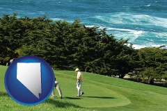 nevada map icon and two golfers on the green at an oceanside golf course