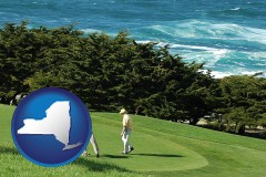 new-york map icon and two golfers on the green at an oceanside golf course