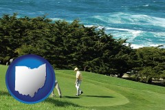 ohio map icon and two golfers on the green at an oceanside golf course
