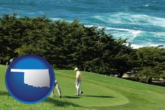 oklahoma map icon and two golfers on the green at an oceanside golf course