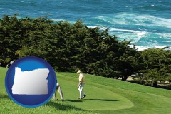 oregon map icon and two golfers on the green at an oceanside golf course