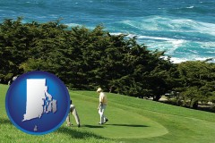 rhode-island map icon and two golfers on the green at an oceanside golf course