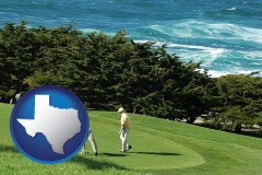 texas map icon and two golfers on the green at an oceanside golf course