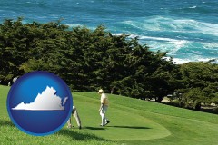 virginia map icon and two golfers on the green at an oceanside golf course