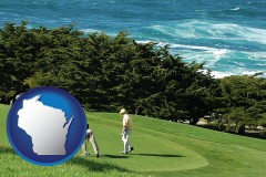 wisconsin map icon and two golfers on the green at an oceanside golf course