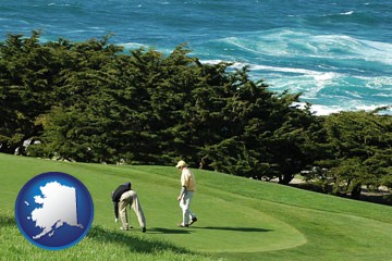two golfers on the green at an oceanside golf course - with Alaska icon