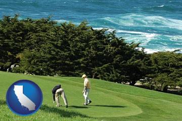 two golfers on the green at an oceanside golf course - with California icon