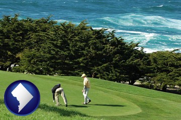 two golfers on the green at an oceanside golf course - with Washington, DC icon