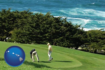 two golfers on the green at an oceanside golf course - with Hawaii icon