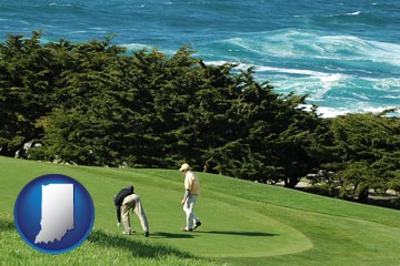 two golfers on the green at an oceanside golf course - with Indiana icon