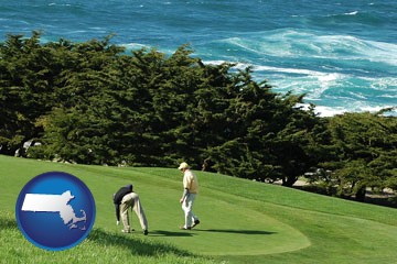 two golfers on the green at an oceanside golf course - with Massachusetts icon
