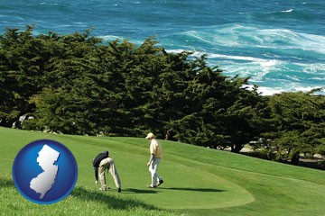 two golfers on the green at an oceanside golf course - with New Jersey icon