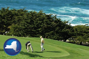 two golfers on the green at an oceanside golf course - with New York icon