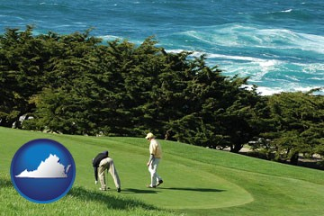 two golfers on the green at an oceanside golf course - with Virginia icon
