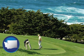two golfers on the green at an oceanside golf course - with Washington icon