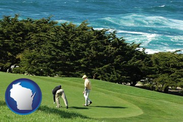 two golfers on the green at an oceanside golf course - with Wisconsin icon