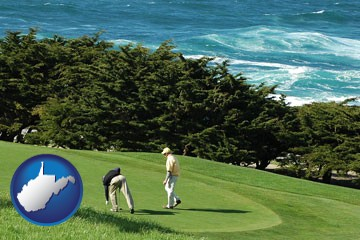 two golfers on the green at an oceanside golf course - with West Virginia icon